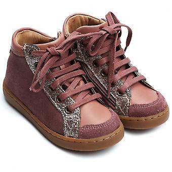 肖庞由庞德阿波斯;Api播放蕾丝拉链脚踝靴,棕色玫瑰滑翔机