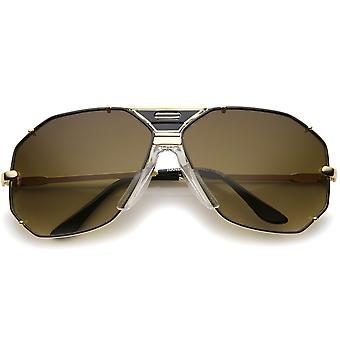 Moderne zeshoekige geometrische bezaaid metalen Frame Aviator zonnebril 67mm