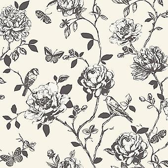 Rasch Amour Fleur Bird Butterfly Floral Pattern Silver Glitter Fond d'écran 204308