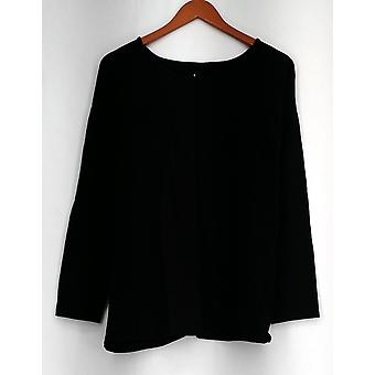 Denim et Cie Top Knit Pullover Top w/ Crossover Back Black A272162