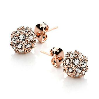 18K Gold Plated Stellux Cubic Zircoina Ball Charm Studs, 0.8cm