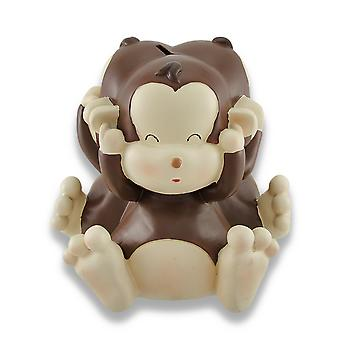 Baby Monkey See, Speak, Hear No Evil Coin Bank 8.5 In.