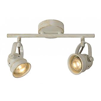 Lucide Cigal Cottage Rectangle Metal Antique White Ceiling Spotlight