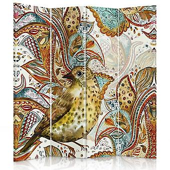 Room Divider, 4 Panels, Double-Sided, Rotatable 360, Canvas, Oriental Bird