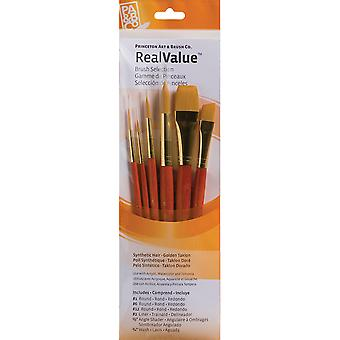 Real Value Brush Set Synthetic Gold Taklon Rnd 1,6,12,Liner 2,Ang 1 2,Wash 3 4 P9153