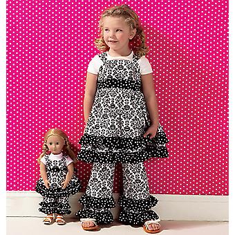 Girls' Top, Pants And Overalls; Dolls' Top And Pants  Pattern K0135