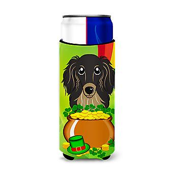 Longhair Black and Tan Dachshund St. Patrick's Day Michelob Ultra Koozies for slim cans BB1957MUK