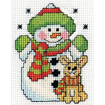 Snowman W/Frame Mini Counted Cross Stitch Kit-3