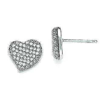 Sterling Silver and CZ Polished Heart Post Earrings