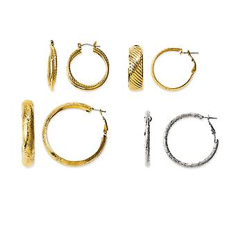 Kennedy Gold-plated and Rhodium-plated 4 Pair Set Of Hoop Earrings - .8 Grams