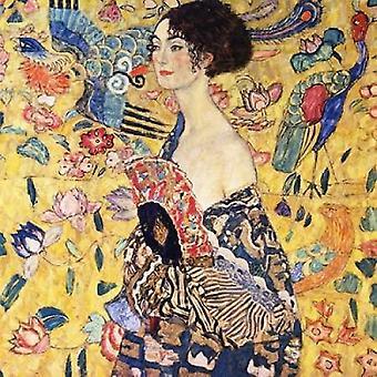 Dame mit Fan-Plakat-Druck von Gustav Klimt