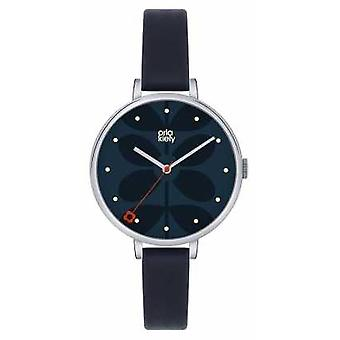 Orla Kiely Navy Leather Strap Navy Dial OK2011 Watch