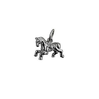 Silver 11x17mm Fair Ground Carousel Horse Pendant or Charm
