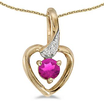 14k Yellow Gold Round Pink Topaz And Diamond Heart Pendant with 18