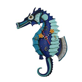 Allen Designs Salty Seahorse Blue Pendulum Wall Clock