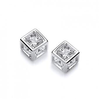 Cavendish French Silver and CZ Cube Earrings