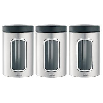 Brabantia 1.4l 3 Storage Window Canisters in Matt Steel