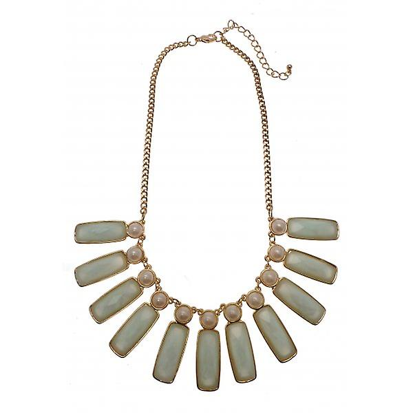 W.A.T Gold Style Aqua Green And Pearl Statement Necklace