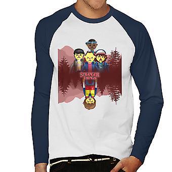 Stranger Things Big Upside Down Men's Baseball Long Sleeved T-Shirt
