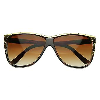 New Larger Modern Retro Fashion Gold Tip Point Detail Horn Rimmed Sunglasses