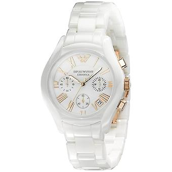 Emporio Armani AR1417 White & Gold Ceramica Chronograph Watch