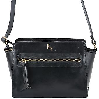 Ashwood Leather Small Structured Body Bag Si-1339 Black/vt