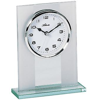 Atlanta style clock quartz solid glass case