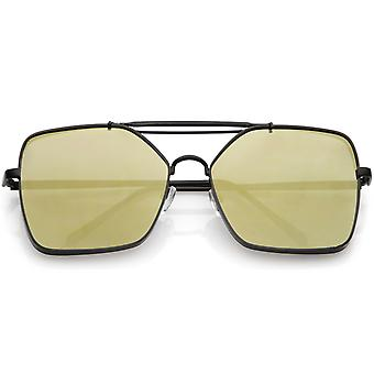 Oversize Aviator Sunglasses Metal Side Cover Triple Crossbar Color Mirror Flat Lens 61mm
