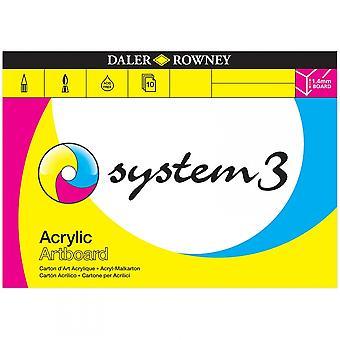 Daler Rowney sistema 3 acrilico tavola da disegno Pad - dimensioni elencate