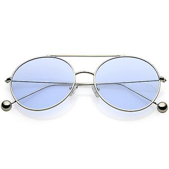 Premium Oversize okrągłe okulary Metal podwójne nosa kolor płaski obiektyw 59mm