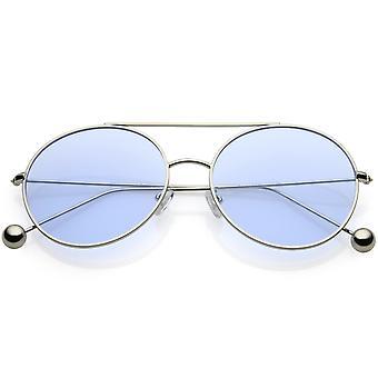 Premium Oversize Round Sunglasses Metal Double Nose Bridge Color Flat Lens 59mm