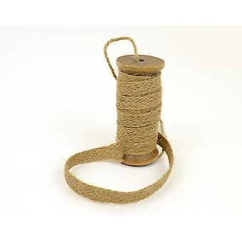 Natural Jute Trim on a Wooden Spool | Twine Cord & Elastic for Crafts
