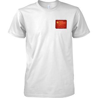 Chiny Grunge Grunge efekt flaga - męskie piersi Design T-Shirt