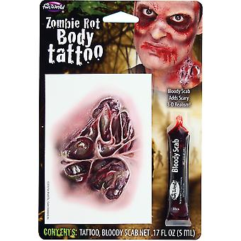 Halloween Tattoo Wound with Bloody Scab Fancy Dress Accessory-Zombie Rot Body