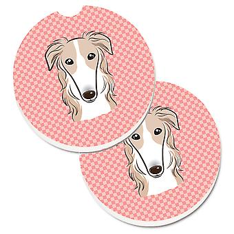 Checkerboard Pink Borzoi Set of 2 Cup Holder Car Coasters