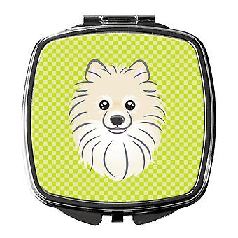 Carolines Treasures  BB1269SCM Checkerboard Lime Green Pomeranian Compact Mirror