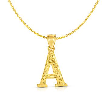 10K Yellow Gold Pendant Letter A-Z Personalized Alphabet Initial Name Monogram with optional 18 Inch Necklace