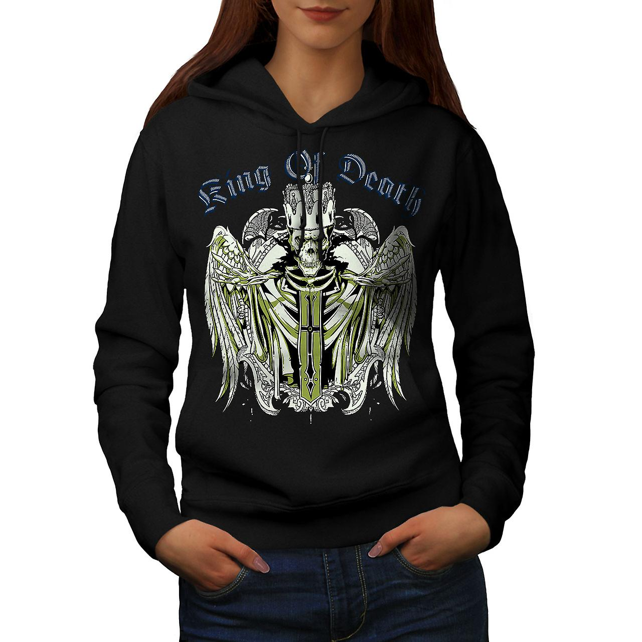 King Of Death Devil Skull Women Black Hoodie | Wellcoda