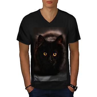 Pussy Cat uomini BlackV-Neck t-shirt nera | Wellcoda