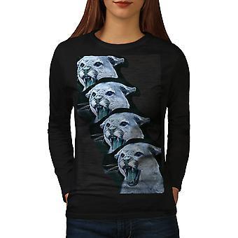 Wild Animal Tiger Cat Women BlackLong Sleeve T-shirt | Wellcoda