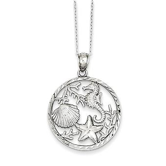 925 Sterling Silver Seahorse Shell Starfish Coral Charm Necklace
