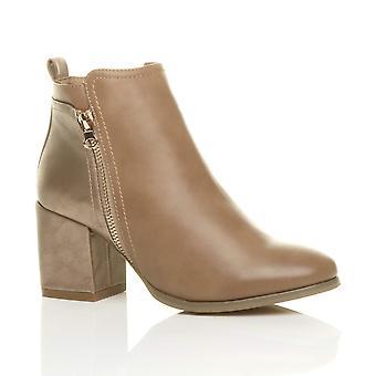 Ajvani womens block high heel gold zip contrast metallic smart ankle boots