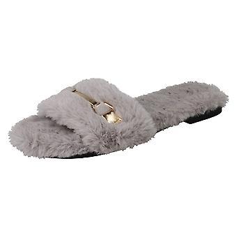 Ladies Spot On Flat Fur Mules F00139