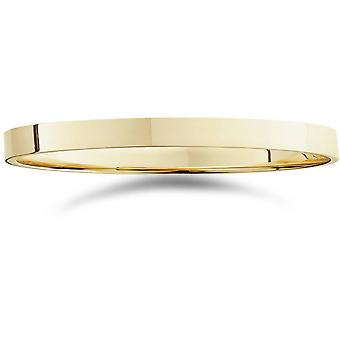 2mm Flat High Polished Wedding Band 14K Yellow Gold