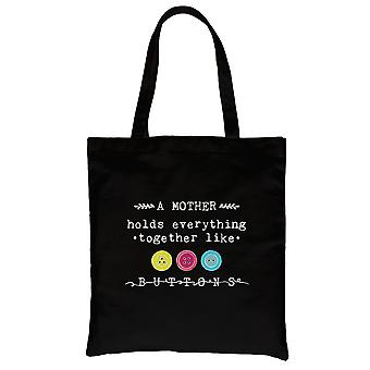 Mother Like Buttons Black Heavy Cotton Canvas Bag Mothers Day Gifts