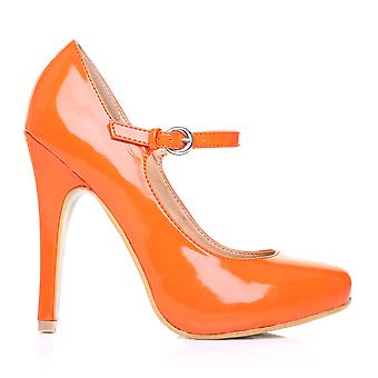 MISCHA Orange Patent PU Leather Stiletto Very High Heel Mary Janes Shoes