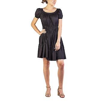 Miu Miu Women's Cotton Nylon Blend Pleaded Dress Black