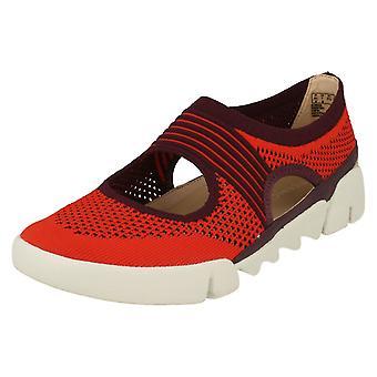 Damer Clarks klippe ud detalje Flats Tri Blossom - rød Combi tekstil - UK størrelse 3D - EU størrelse 35,5 - US størrelse 5,5 M