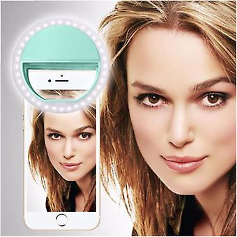For Archos 50 Graphite - Clip on Selfie Ring 36 LED Light Round Shape Adjustable 3 Brightness Levels (Green) by i-Tronixs
