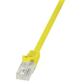 LogiLink RJ45 Networks Cable CAT 6 U/UTP 0.25 m Yellow incl. detent